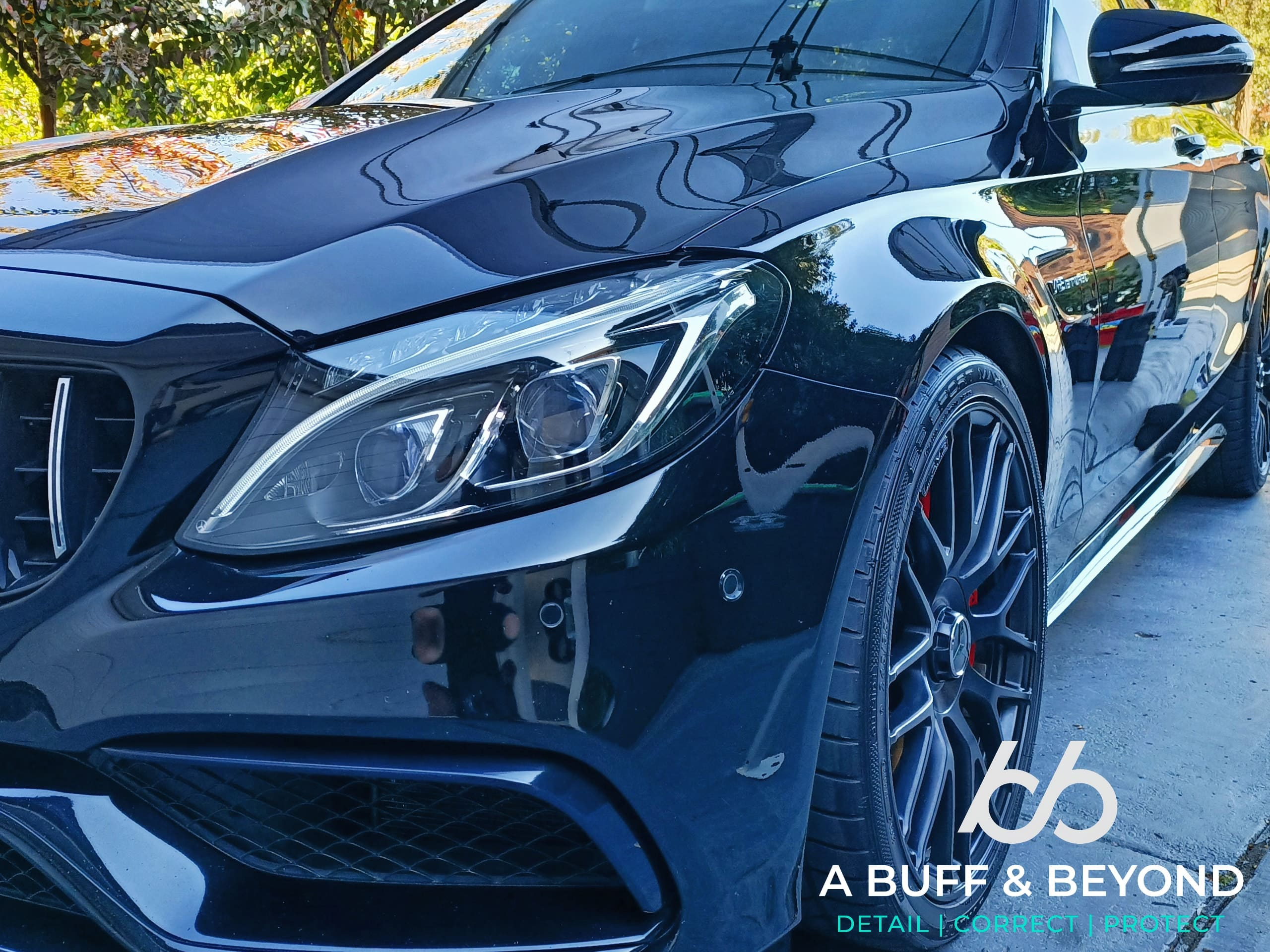 MERCEDES C63S Black detail and stage 1 paint correction