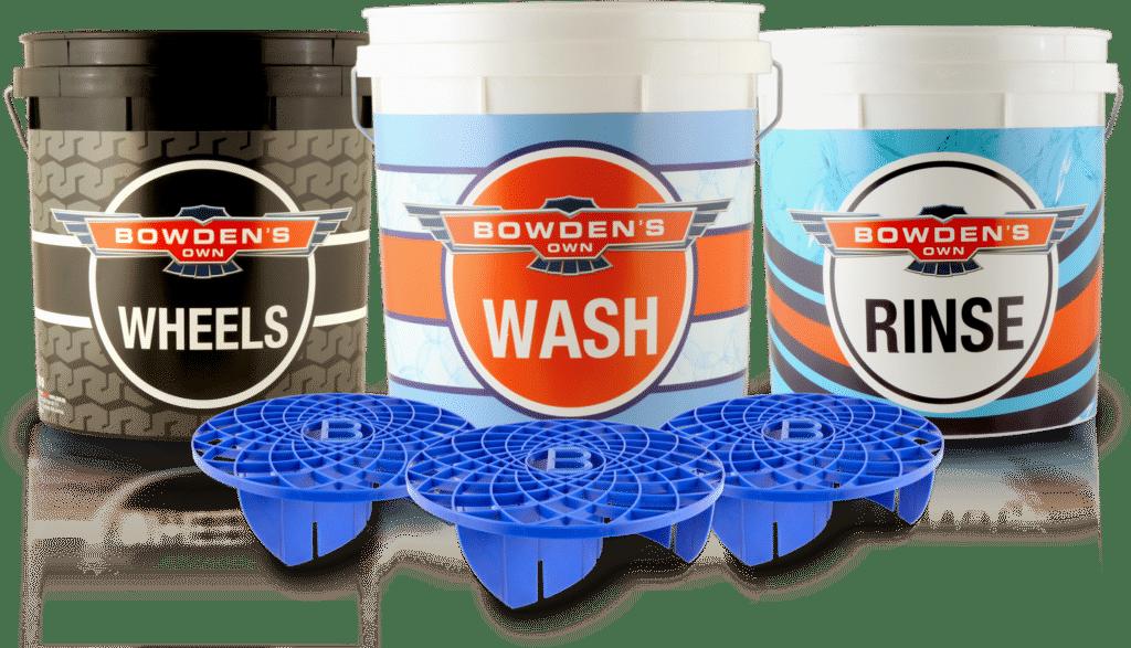 Two bucket wash method used to safely wash vehicle